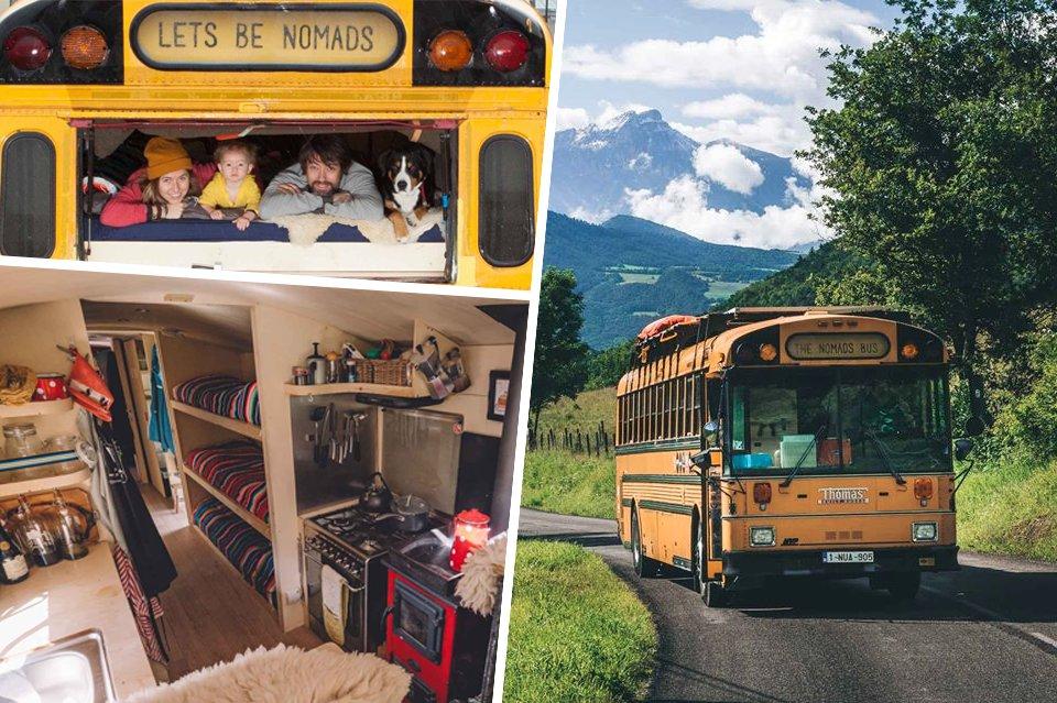 Ce couple nomade a converti un bus scolaire en une auberge itinérante