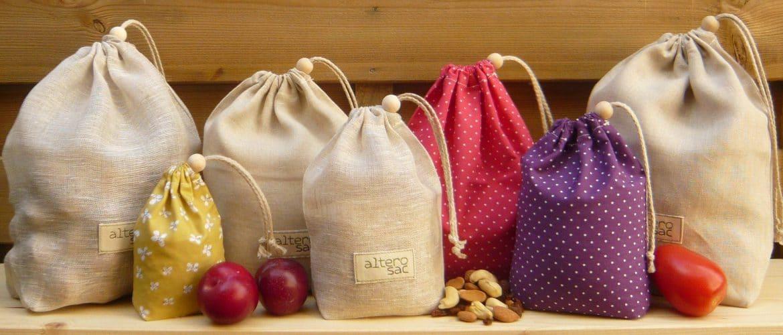 sacs tissu courses Zéro déchet dans la cuisine