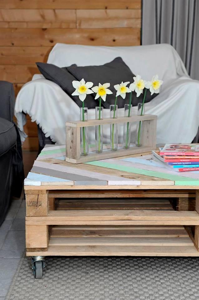 meuble recyclé en palette table basse